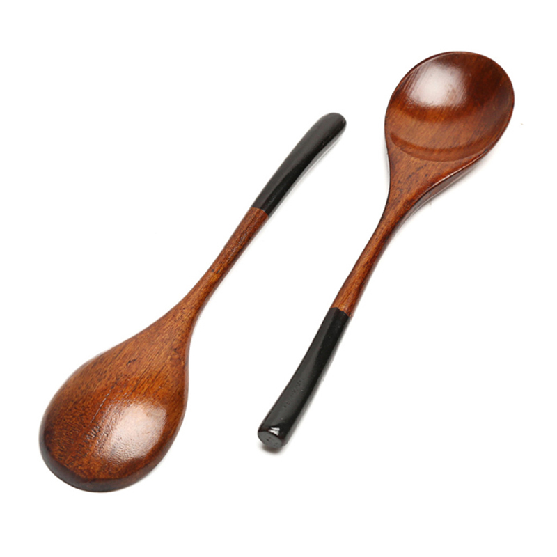 2pcs Wooden Spoons Kitchen Japanese Style Large Rice Soup Spoon Wood Kids Spoon Coffee Tea Ice Cream Wooden Utensils Tableware (9)