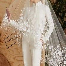 Новая кружевная длинная Высококачественная свадебная вуаль белого цвета/цвета слоновой кости Свадебная Фата Мантилья Свадебные аксессуары Veu De Noiva EE006