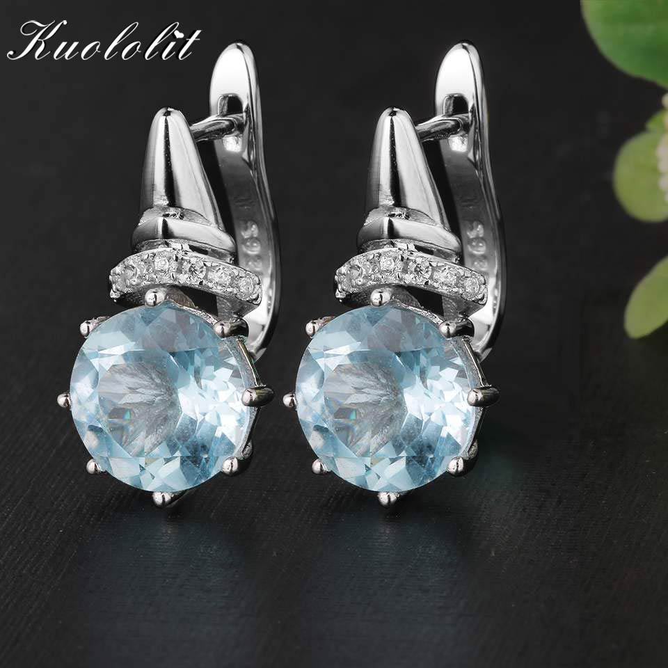 Kuololit 4.7Ct Pure Sky Blue Topaz Clip Earrings For Girls Real 925 Sterling Silver Classic High-quality Jewellery Girls Lady Reward