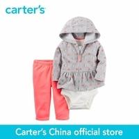 Carter S 3 Pcs Baby Children Kids Clothing Girl Fall Winter Fleece Cardigan Set Print And
