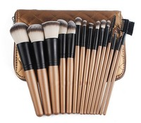 15Pcs Professional Makeup Brush Set Foundation Blusher Powder Eyeshadow Eyeliner Kabuki Brushes With Gold Zip Case
