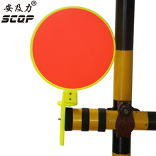 Red Safety Caution Warning Signs Plastic Round Traffic Signal Single Sided Reflective Board For Safety Cone Traffic Barrier