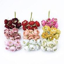 6 шт. маленькие чайные бутоны розы букет декоративные цветы венки Скрапбукинг искусственная тычинка растения diy Подарочная коробка искусственные цветы