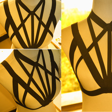 black Body harness bra Elastic Garters body cage harness fetish gothic Harajuku harness Bondage 2015 summer style  sex toy