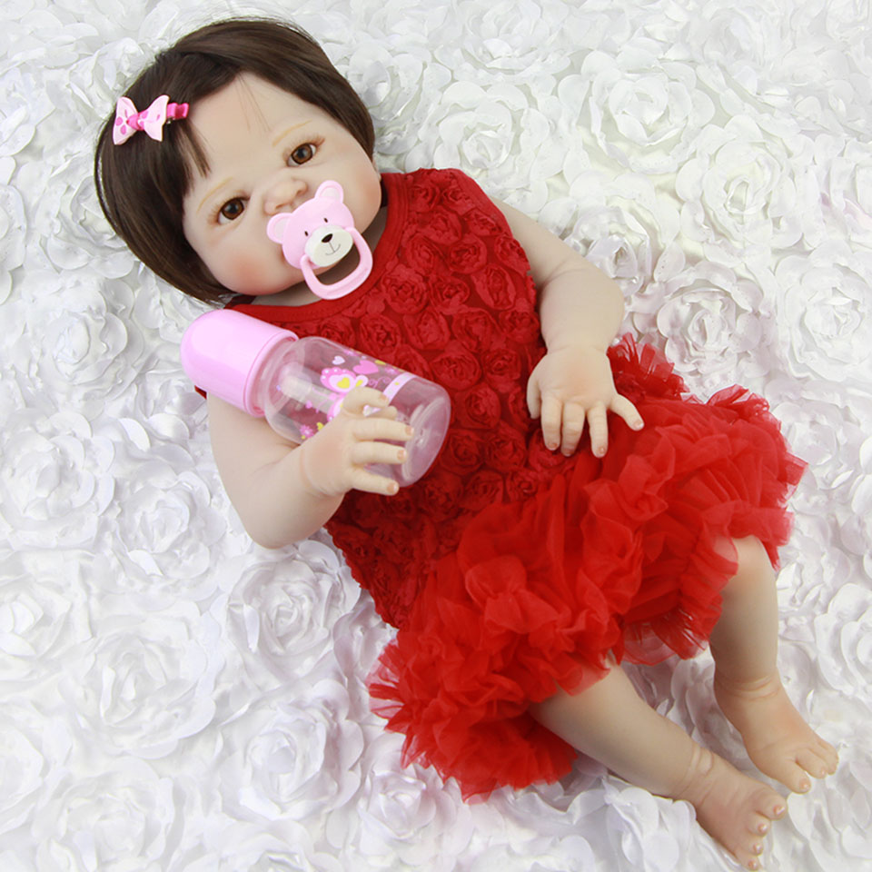 Full Silicone Vinyl Reborn Dolls Lifelike 23'' Babies Girl Wear Red Dress Real like New Born Babies Doll With Pacifier Kids Toy lifelike russian babies girl 23   reborn