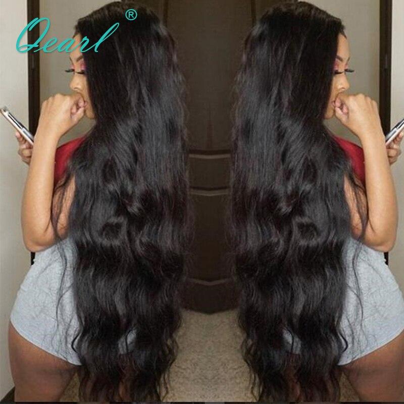 Qearl натуральный волнистый 24 26 inchs черный цвет полный парик шнурка с волосами младенца натуральный волос полный конец бразильский парик из н