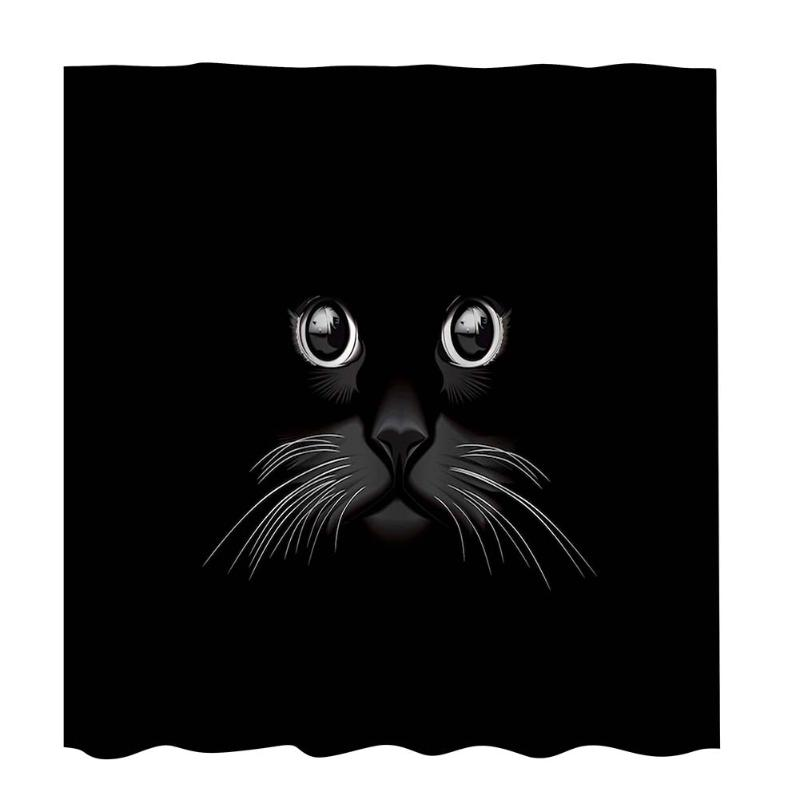 Waterproof Polyester Shower Curtain Bathroom Green Leaves Black Cat Printed Bath Curtain Mould Proof With Hanging Hooks 1.8x1.8m