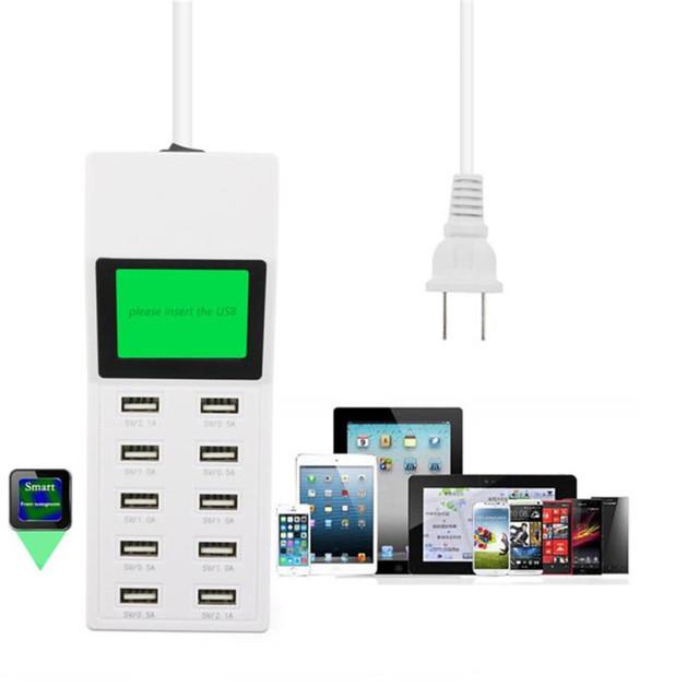 Super Rápido Multi 10 Portas USB fonte de Alimentação Carregador de Parede do Desktop Carregador de Tomada Inteligente Jun 22