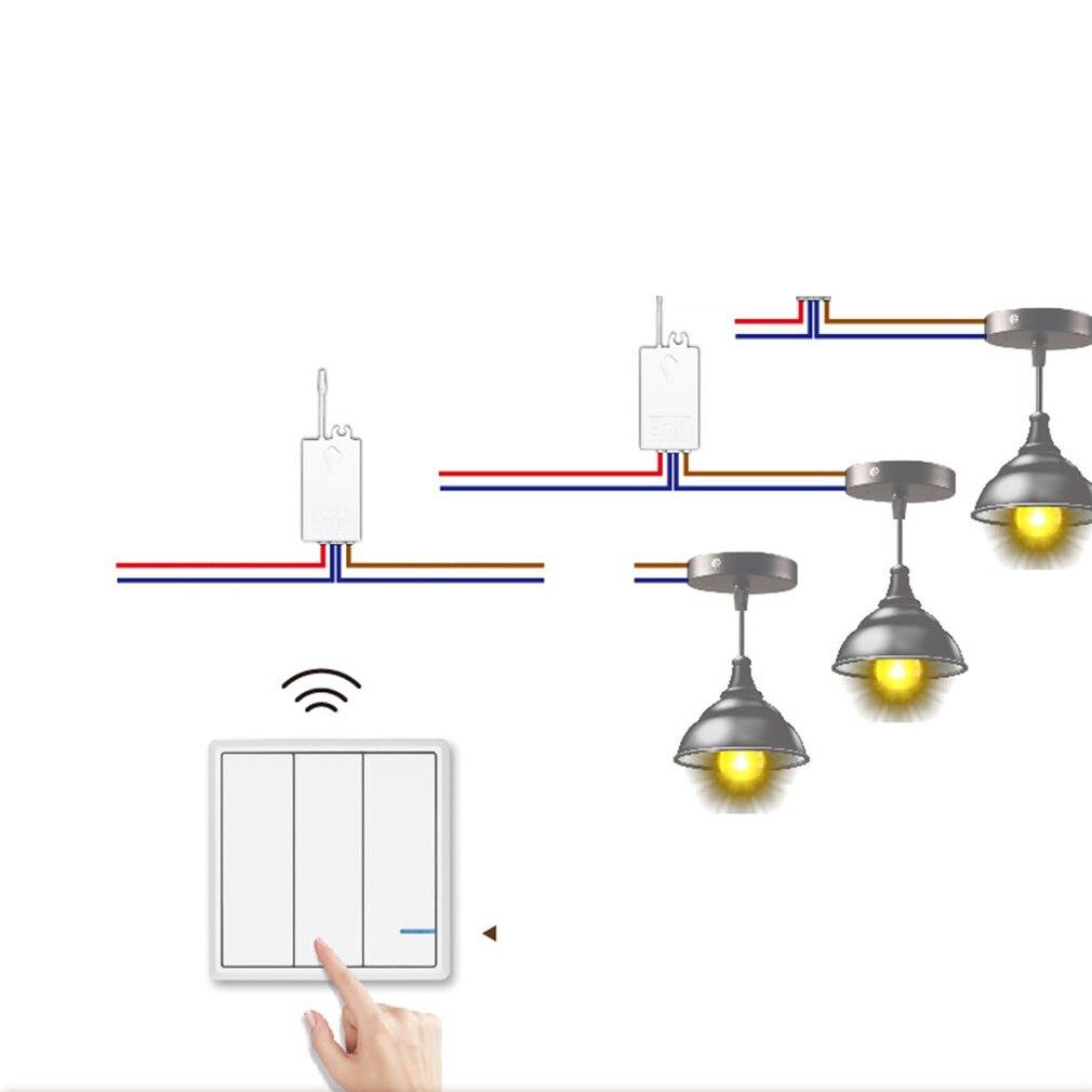 Panneau sans fil interrupteur trois boutons 110 V SW-K3 & R02 86 Type RF télécommande murale lumière panneau étanche maison