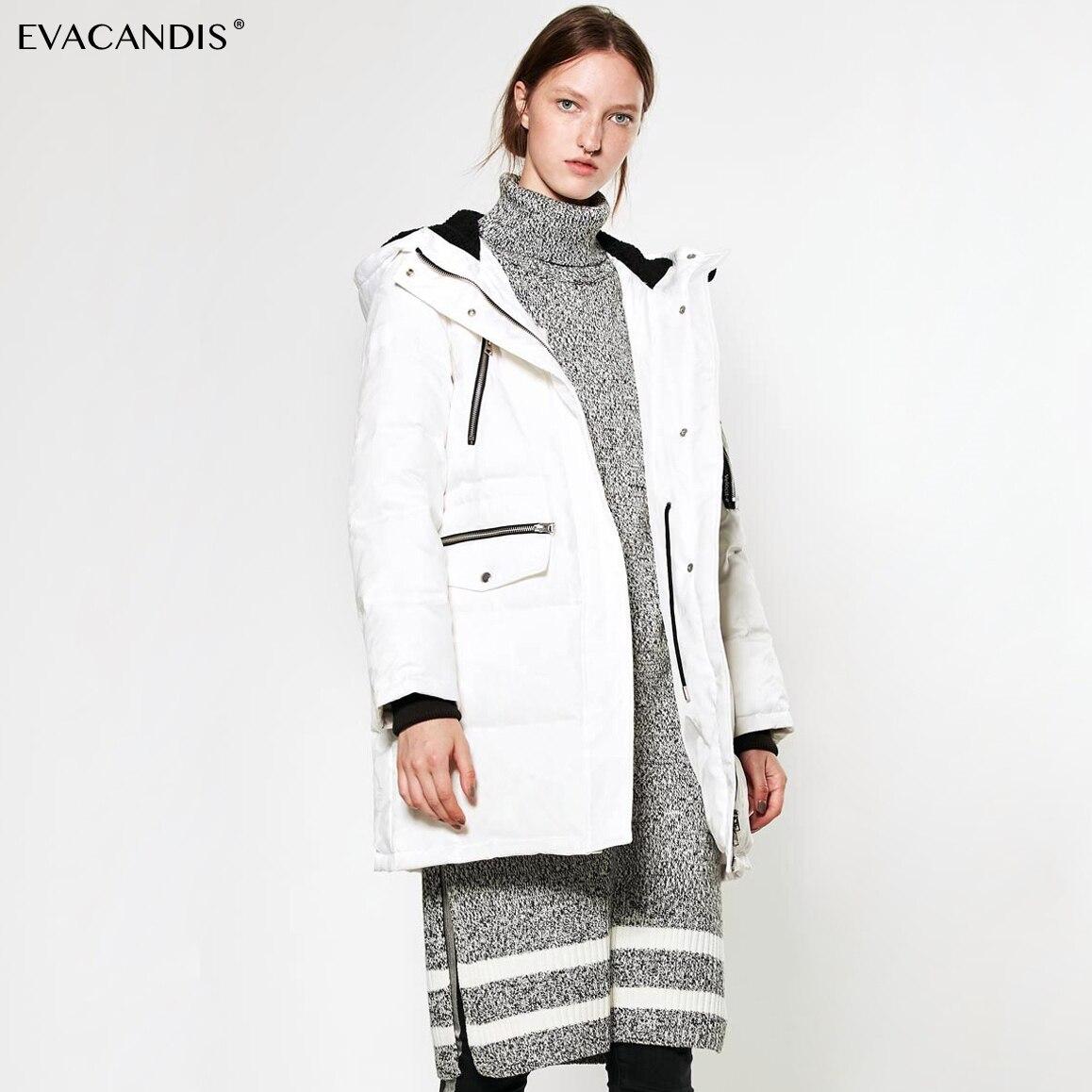 Long Hooded   Down     Coat   Korean Elegant White Duck   Down   Warm Overcoat Thick Snow Jacket Windproof Women Outwear Winter 2018