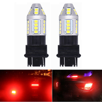 Liplasting 2Pcs 3157 Red LED Flashing Strobe Blinking Lights Car Red Rear Alert Safety Brake Tail