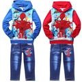 spiderman boys denim clothing sets long sleeve children hoodies jeans outfit suit spring autumn fashion kids clothes