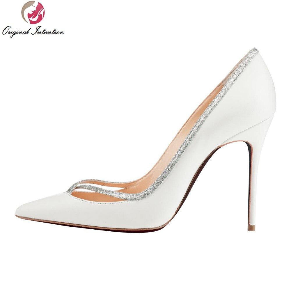 Original Intention New Fashion Women Pumps Sexy Pointed Toe Thin Heels White Pumps Elegant Shoes Woman Plus Size 4-15 creativesugar elegant pointed toe woman