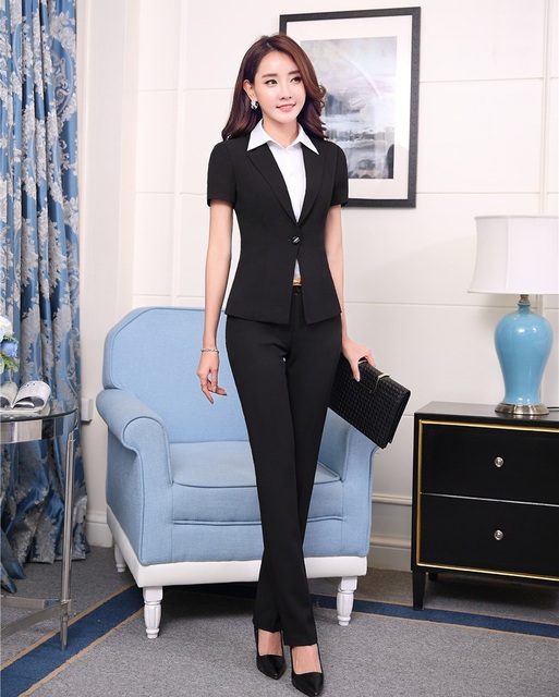 Aliexpress.com : Buy Summer Formal Black Blazer Women Pant Suits ...