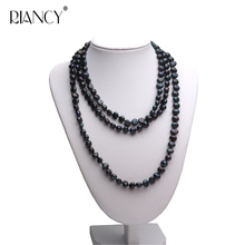 Fashion New natural freshwater black 8-9mm Baroque pearl long necklace Multi-layer genuine white pearl necklace for women недорого