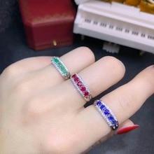 925 sterling silver real Natural green Emerald sapphire ruby Rings fine Jewelry gift women  open wholesale 3*3mm dj0303888agml цена в Москве и Питере