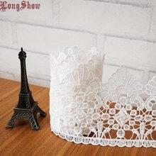 15 ярдов/партия, кружевная рамка белого цвета из чистого полиэстера шириной 10 см с химической вышивкой для украшения домашнего текстиля