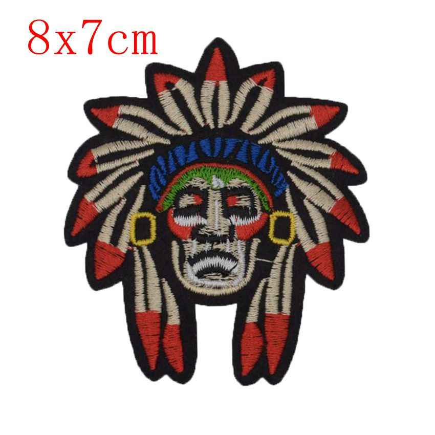 New Flower Ghost Indian Mountain Embroidered Patches Round Fabric Patches Cat Sticker For Clothes Decor Animal Wolf Applique