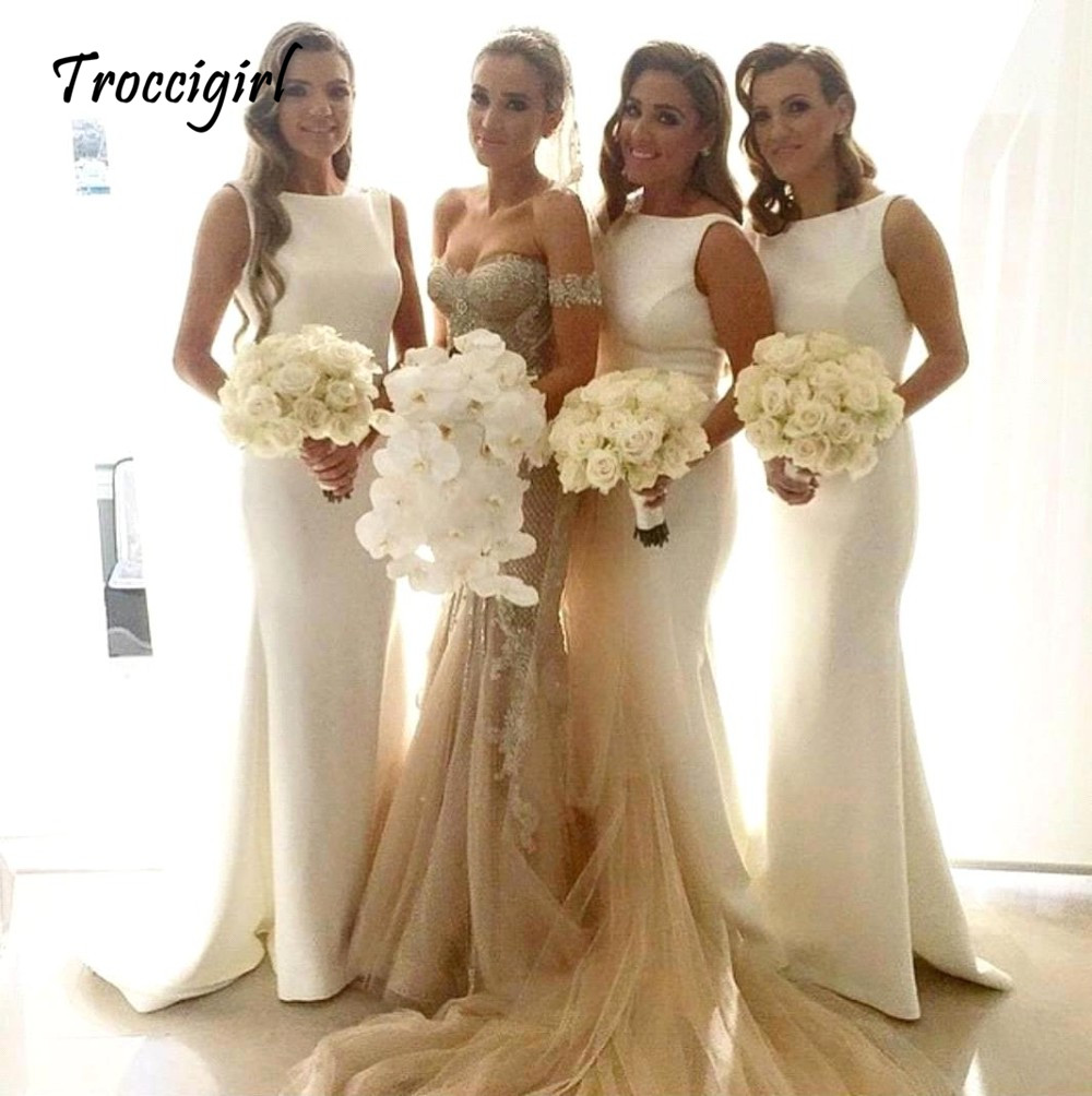 26-1        Sexy Satin Ivory Bridesmaid Gown Ivory Champagne Pink Red Mint Green Hot Bridesmaid Dresses