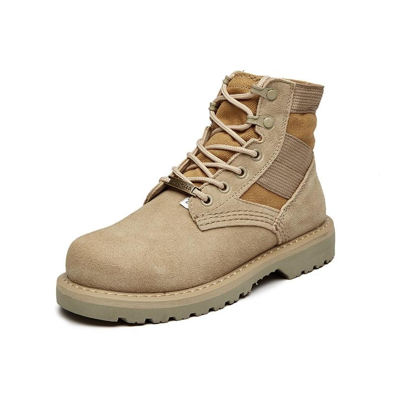 Trabalham Botas Alta Confortável Mxz811816 Sapatos Casual Dos Homens De Khaki E Qualidade Couro Marca IYgqBd
