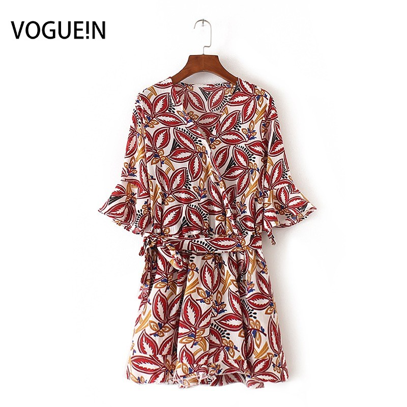 VOGUE!N New Womens Ladies Summer Flare Sleeve Vintage Floral Print Playsuits Jumpersuit