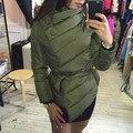 2016 Abrigo de Invierno de Las Mujeres Capa Corta Delgada Engrosamiento Chaqueta de Abrigo de Invierno de Down Parka de Algodón de Las Mujeres