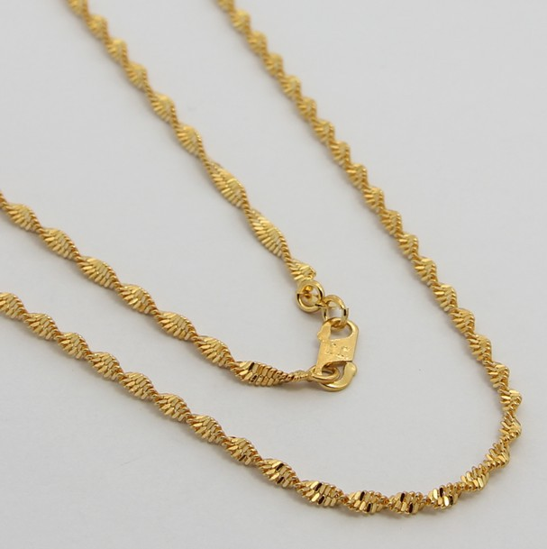 24k gold necklace ttdn11 2 2mm twisted singapore chain