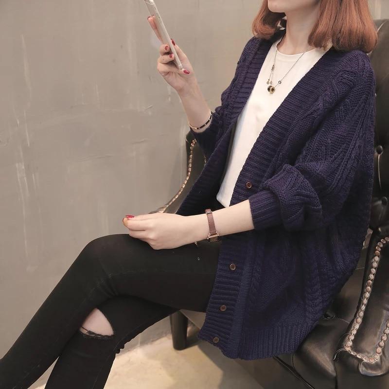 Autumn Cardigan Sweater Women Fashion Twist Single-breasted Coat Knitted V-neck Long Cardigan Female Leisure Sweater Coat Xy507