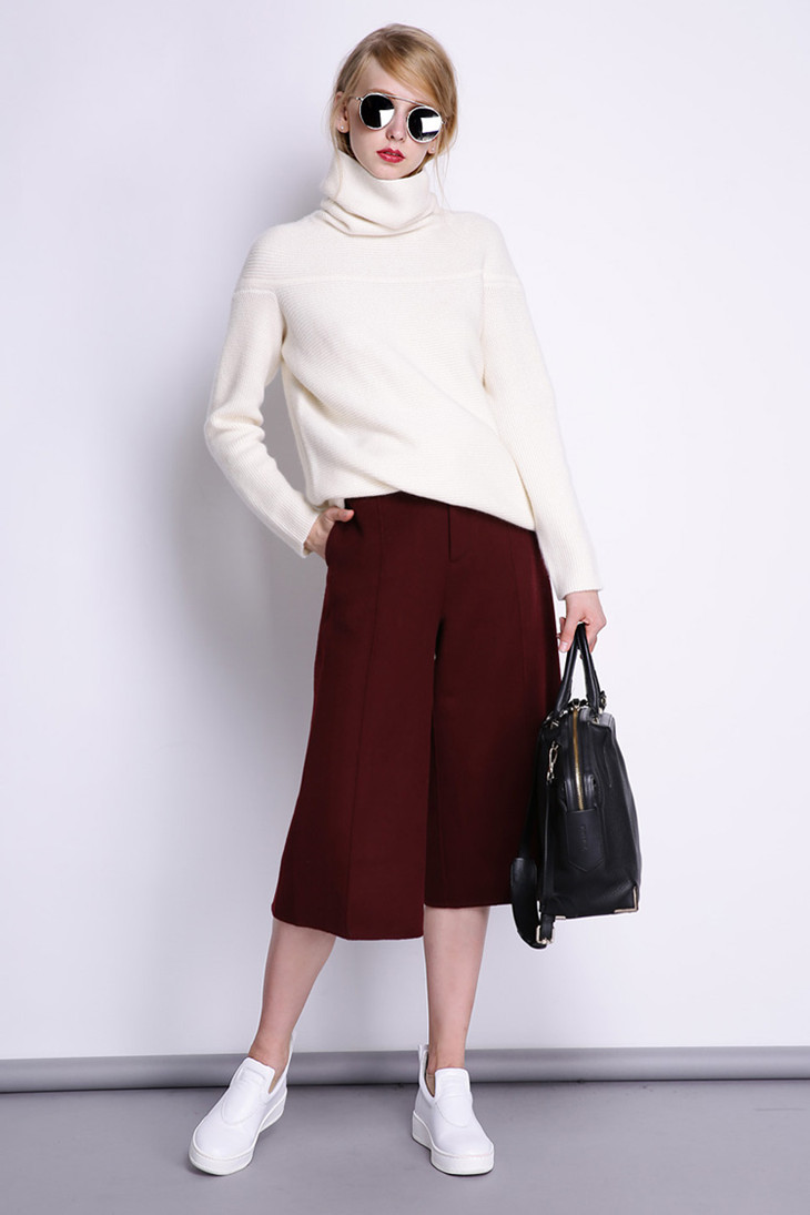 BELIARST New Autumn and Winter Cashmere Sweater Women's High Collar Thick Solid Color Sweater Loose Knit Sweater Wild Pullover 17
