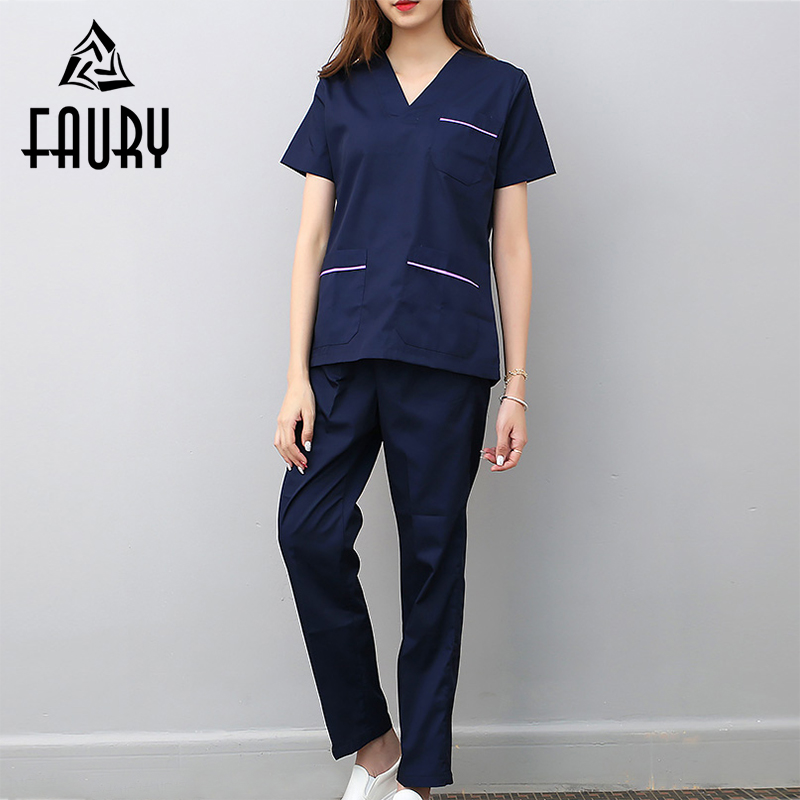 V Neck Summer Short Sleeve Women Work Tops Pants Scrub Sets Hospital Doctor Nurse Surgical Suit Dentist Clinic Medical Uniforms