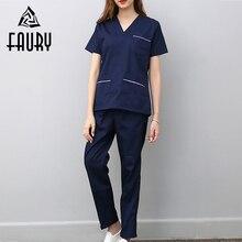 V Neck Summer Short Sleeve Women Work Tops Pants Scrub Sets Hospital Doctor Nurse Surgical Suit Dentist Clinic Medical Uniforms