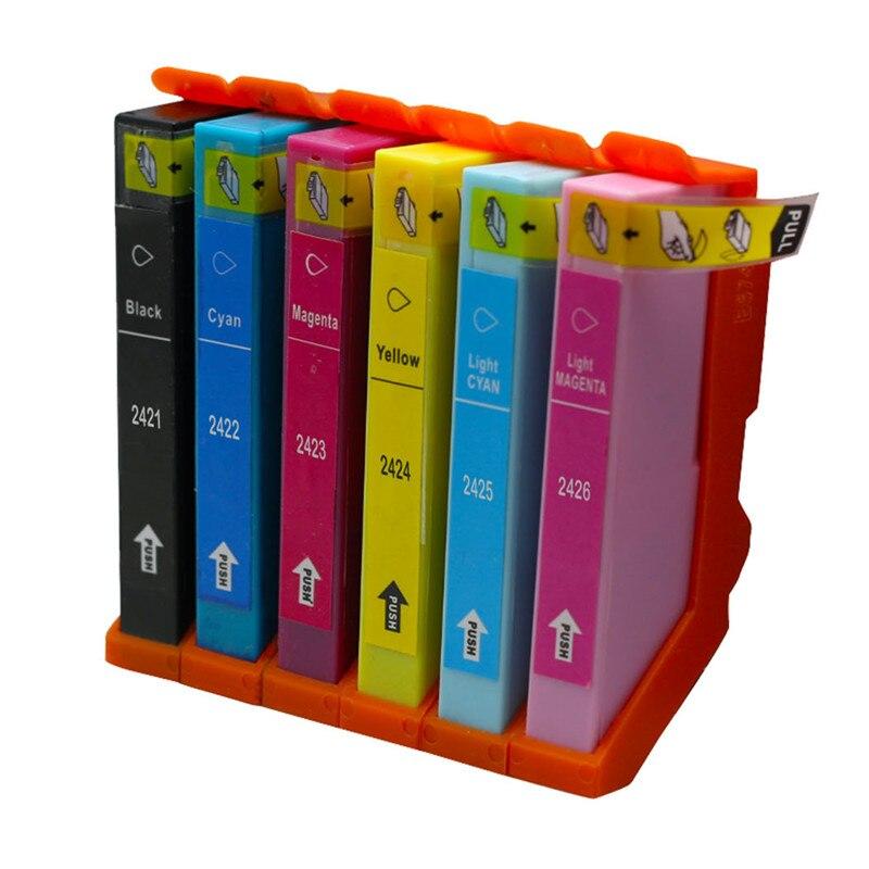 6pcs/Set For Epson Compatible Ink Cartridge T2421 T2422 T2423 T2425 For Epson EXPRESSION PHOTO XP-750 XP-760 XP-850 No.467