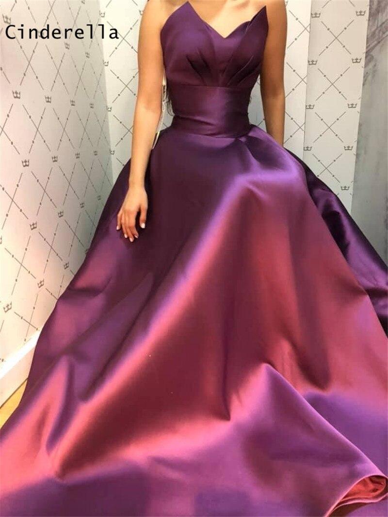 Cinderella Purple Sleeveless A-Line Lace Up Back High Quality Satin Pleated Evening Dresses Vestidos De Fiesta De Noche