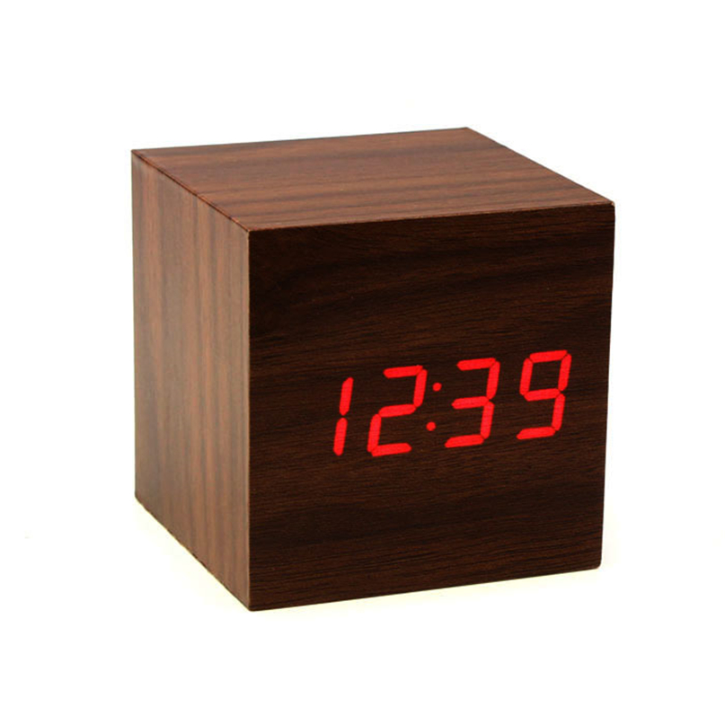 Wall Clocks New Clock Watch Home Decoration Mini Cube Style Digital Red LED Wooden Wood Alarm Brown Clock Voice Control #4NV27 (5)