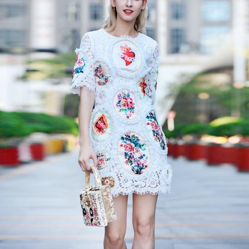 Qualité De 2019 Mode Femmes Manches Vintage Imprimer Mince Fleur À Courtes Appliques Haute Dentelle Nouveau D'été Designer Élégant Robe Blanc dnI8q5x5