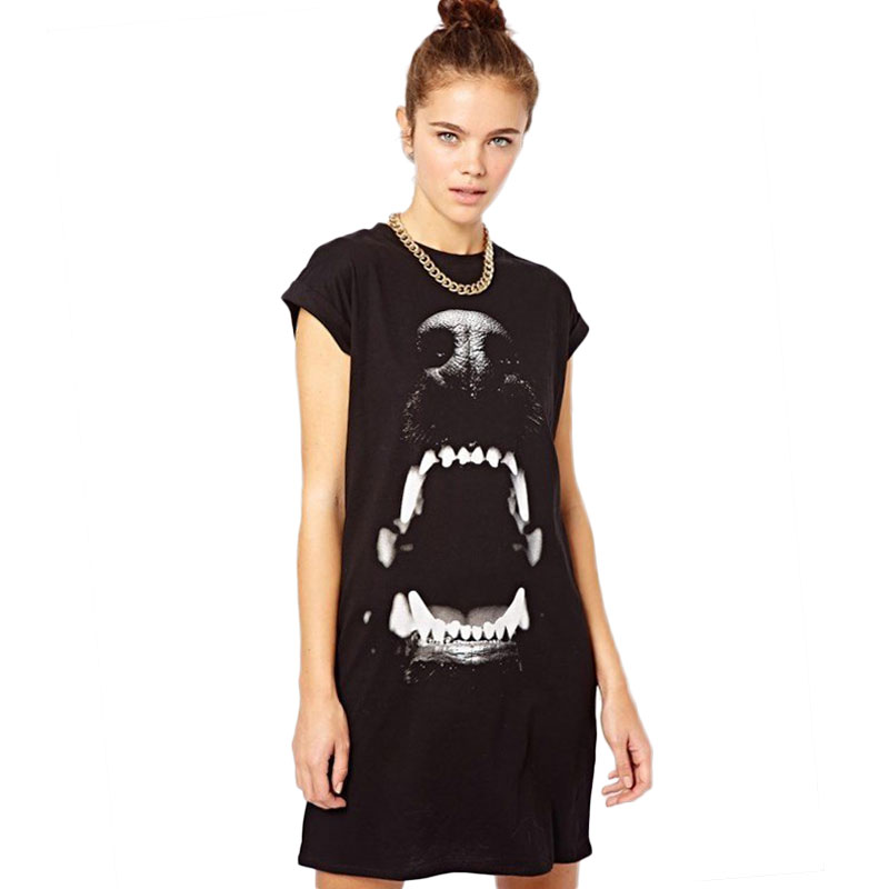 Women black t shirt dress summer 2016 new fashion dog head Womens black tee shirt