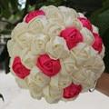 Кот Крем Атласные Розы Свадебные Букеты Принять Заказ Рука Искусственный Цветы Случайный Стежка Свадебные Букеты W223