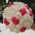 Crema marfil de Satén Rosa Ramos de Novia Aceptar Personalizado Mano Que Sostiene Las Flores Artificiales Ramos de Boda Puntada Ocasional W223