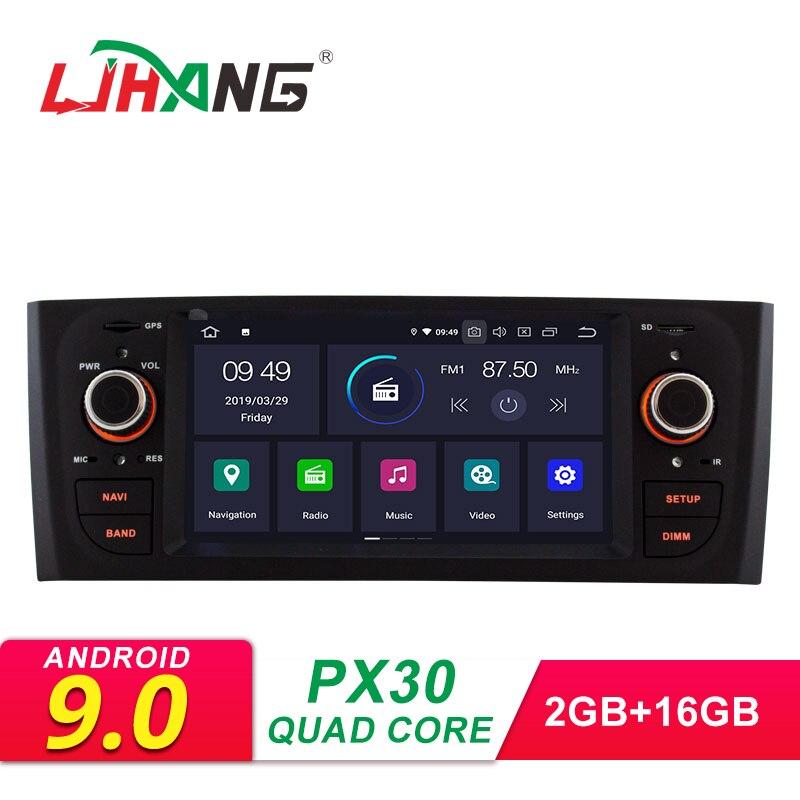 LJHANG 1 Din Android 9.0 lecteur multimédia stéréo de voiture pour Fiat Linea Grande Punto 2007-2012 GPS Navigation WIFI RDS IPS Headunit