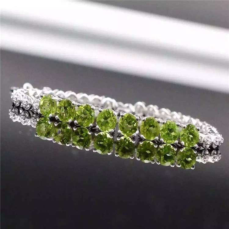 KJJEAXCMY Fine jewelry New NATURAL PERIDOT female 925 Sterling Silver Bracelet with Green Crystal Bracelet