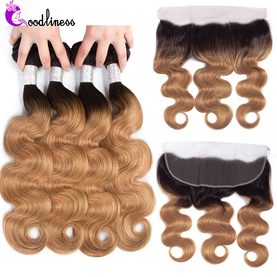 Ombre Bundles With Frontal Closure 1b/27 Nonremy Peruvian Ombre Blonde Body Wave Human Hair Bundles With 13X4 Ear To Ear Frontal