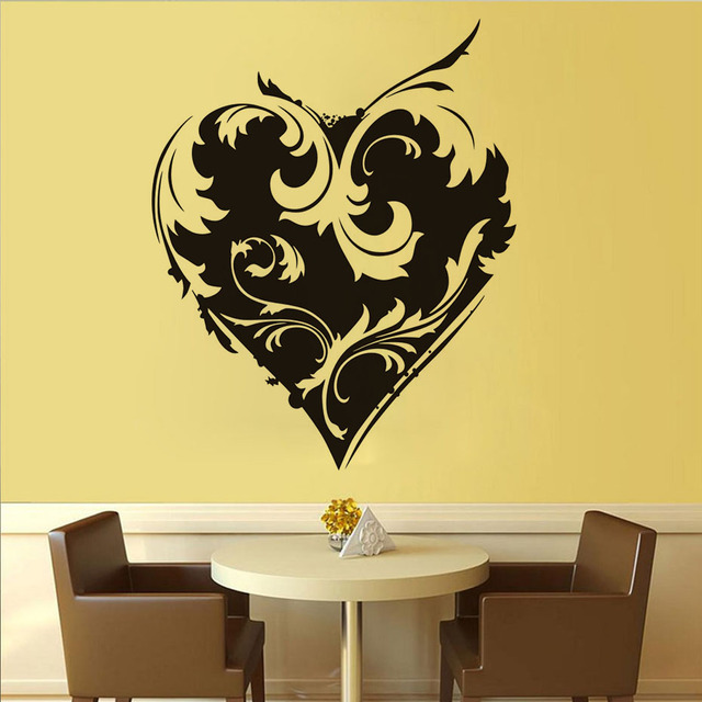 Flower Heart Art Decal Removable Pvc Hollow Out Wall Sticker Weeding ...