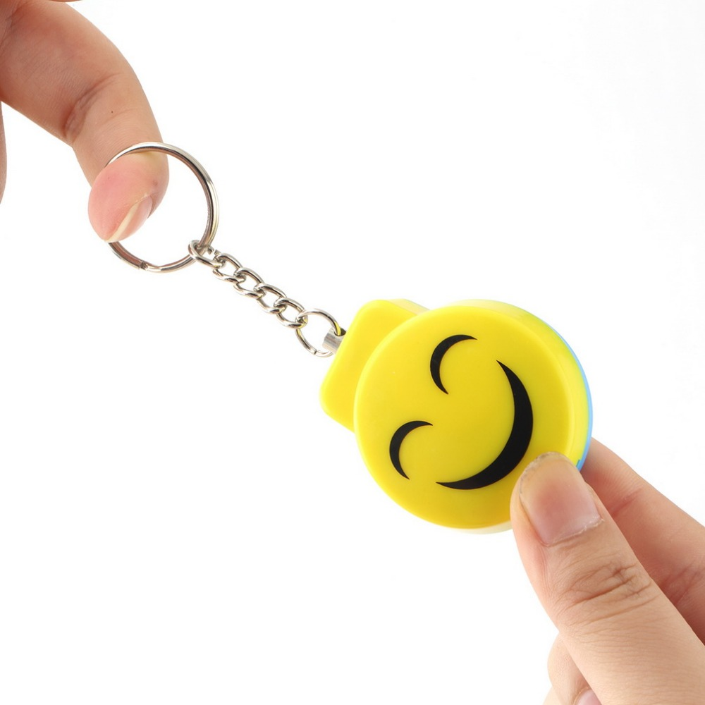 Smile Face Alarm Personal Electronic Panic Alarm Anti-Rape Anti-Attack Alarm Sensor Security Siren Keychain 120dB personal guard safety security siren alarm with led flashlight white 2 cr2032