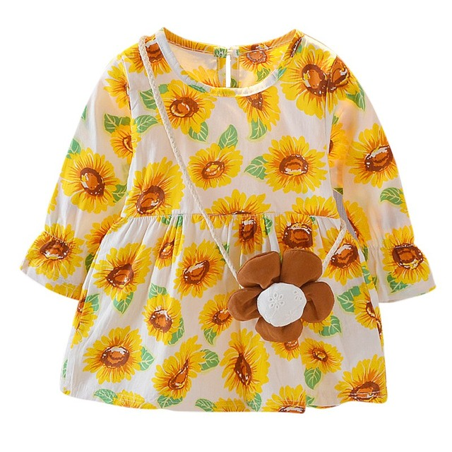 b82848534c9e3 2018 Spring Autumn Toddler Girl Sunflower Dress With Long Sleeve shirt  Newbron Baby Girls Princess Dress With Bag