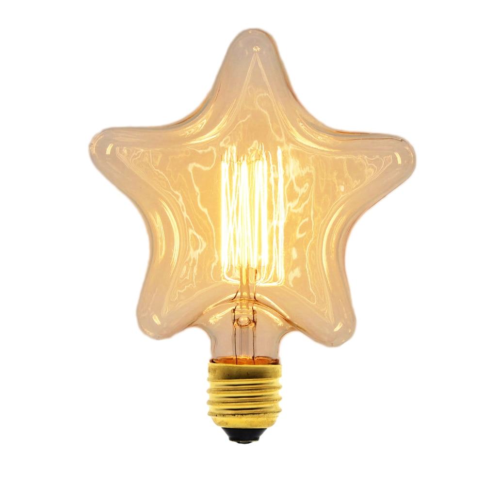 Edison Incandescent Filament Light Retro Vintage Lamp Star/Heart Shape Bulb 220V E27 40W