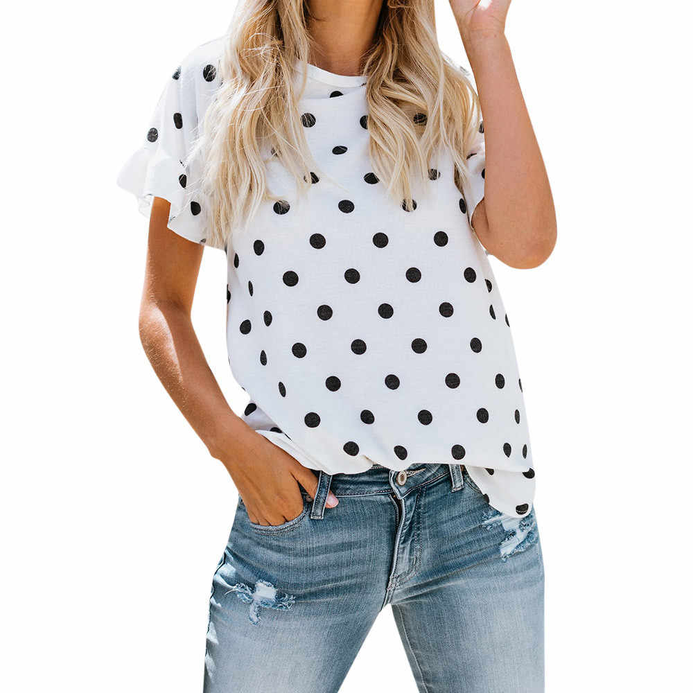 Women's Polo Shirt Women Lady O-Neck Printing Dot Short Sleeve Half Loose Shirt Tops  Loose chiffon polka dot polo shirt