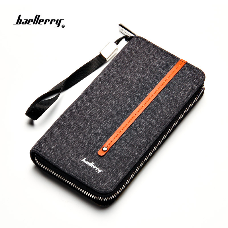 new designer's canvas man wallet Brand baellerry men's wallet long clutch card purse for male fashion phone bag with coin pocket