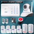 Kerui 8218G GSM PSTN Home Security Alarm System Touch Screen LCD Display 99 Wireless zone with Pir motion sensor and IP camera