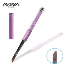 ANGNYA 1PC Unique Design Angled Long Hair Relief Nail Brush Purple Diamond Crystal Acrylic Handle Brushes Beauty Nail Tools