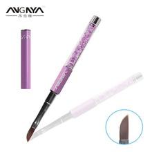 ANGNYA 1PC Unique Design Angled Long Hair Relief Nail Brush Purple Diamond Crystal Acrylic Handle Brushes